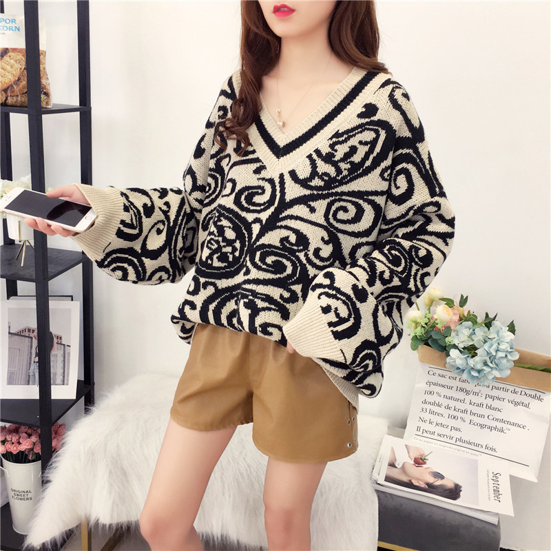 Winter All Match Jumper V-Neck Autumn Knitwear Sueter Mujer Loose Soft Knitted Sweater Pullover Long Sleeve Fashion Women New