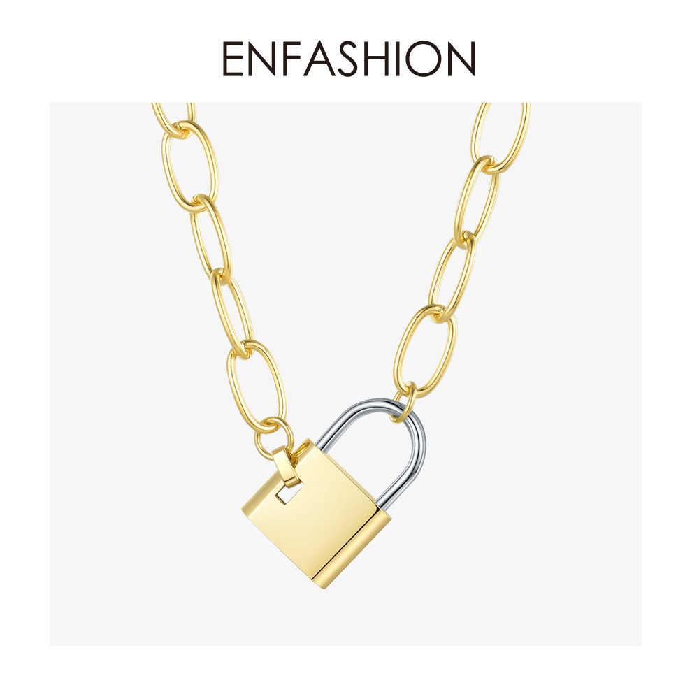 ENFASHION גדול מנעול קישור שרשרת קולר שרשרת נשים זהב צבע נירוסטה Femme תליון שרשראות תכשיטים P193040