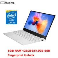Feed me 15,6 дюймовый ноутбук Intel Core i3 с ОС Windows 10 8G ram 128/256/512GB SSD ноутбук узкий Пограничный экран ультрабук отпечаток пальца