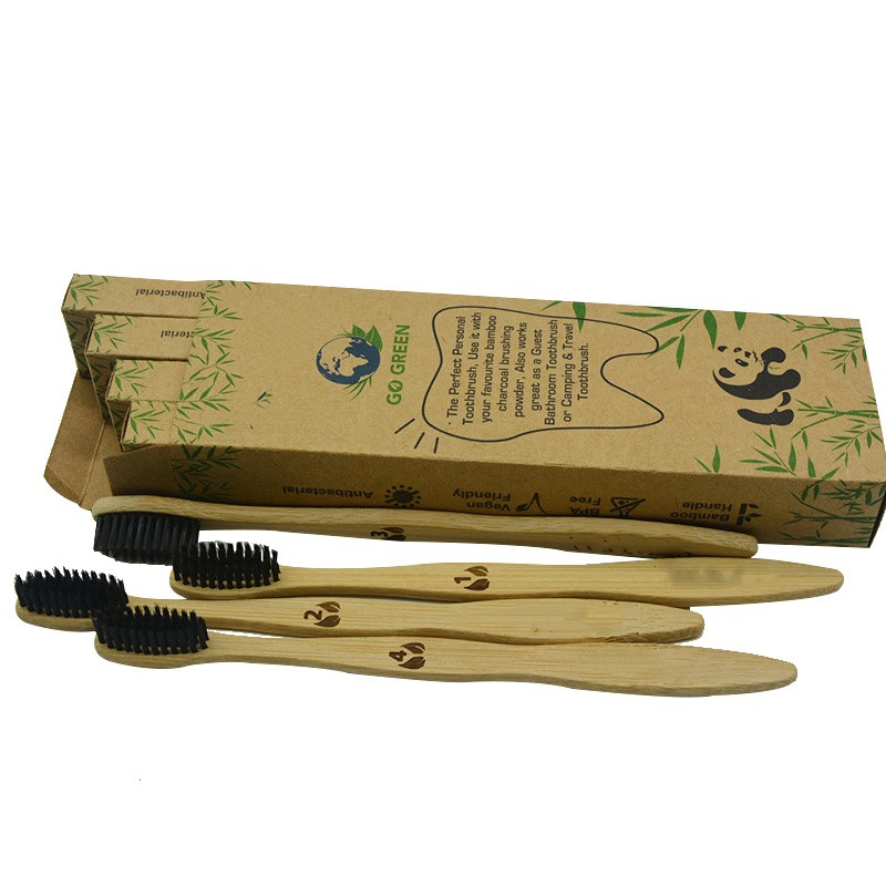 4pcs Biodegradable Eco-Friendly Natural Bamboo Charcoal Toothbrush Pack Of 4 ecofriendly compostable family pack image