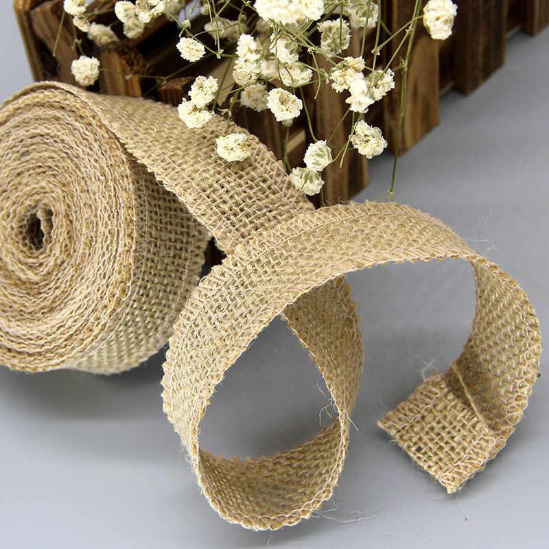 2 quintal/rolo fita de serapilheira de juta natural para artesanato diy fita de cânhamo material do laço festa de casamento decorativo presente de natal embrulho