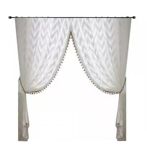 Image 5 - Modern dalga tarzı pencere tül perde saf beyaz Villa dekorasyon ışık geçirgenliği perdeler yatak odası oturma odası mutfak için