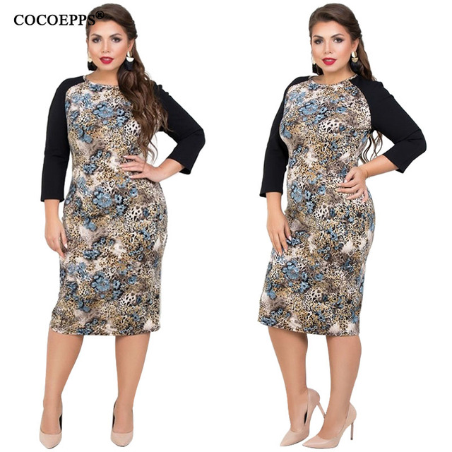 COCOEPPS Plus Size Women Clothing Summer Bodycon Dress Big Size Patchwork 5XL 6XL Lady Office Work Casual Lace Women Dresses 4