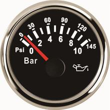 Free Shipping 0-10bar Oil Pressure Gauges Modification 52mm 0-145psi Oil Pressure Meters 9-32v with Red Backlight for Car Truck 1pc new type 0 8000rpm tachometer gauges modification 85mm lcd revolution meters 9 32v rev counters with hourmeter for auto boat