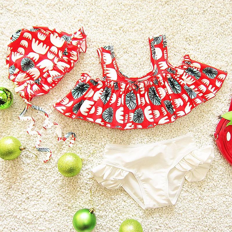 Children Catwalks South Korea Infants Split Type Triangle Bikini Medium And Small Three-piece Set Cute Baby Girls Swimsuit