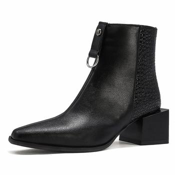 Oversized Snakeskin Leather Stitching Square Toe Chunky Heel Chelsea Boots Stone Pattern Thick Bottom Mid Heel Ankle Boots Snake pointy chunky heel contrast color platform designer snake print elastic band 2015 fall genuine leather boots women patchwork page 4
