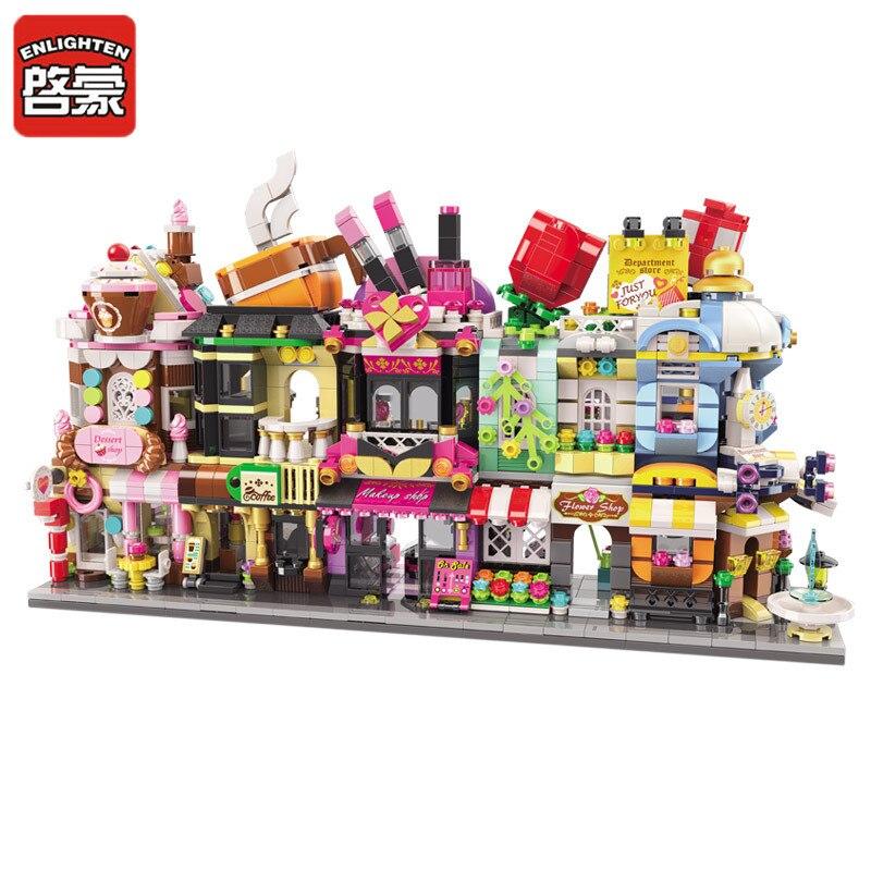 Развивающий мини уличный вид строительные блоки десертный кофейный магазин Совместимые Кирпичи магазин игрушки подарки для детей мальчик...
