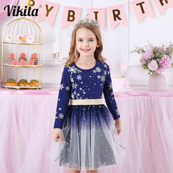 VIKITA Kids Dresses for Girls Long Sleeve Snowflake Sequins Dress New Year Costume Princess Dress Kids Christmas Clothes Wear baby girls dress long sleeve 2018 brand kids winter dresses for girls costume princess christmas dress flower children clothes