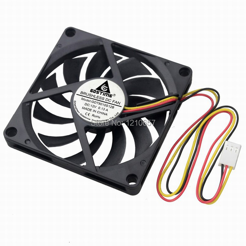 2PCS Gdstime <font><b>3Pin</b></font> 8cm 80x10mm <font><b>80mm</b></font> x <font><b>80mm</b></font> x 10mm DC 12V Brushless Cooling Cooler CPU <font><b>Fan</b></font> image