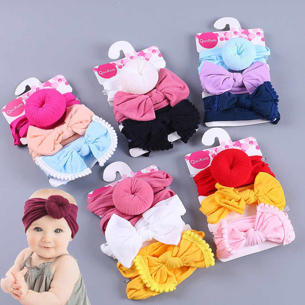 3Pcs Kids Floral Headband Girls Baby Elastic Bowknot Accessories Hairband Set Circle Bow Tie Children's Hair Accessories M800#
