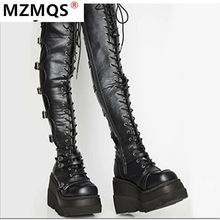 Design Female High Platform Thigh High Boots Fashion Buckle Punk High Heels Boots Women Cosplay Wedges Boots Woman Botas Mujer