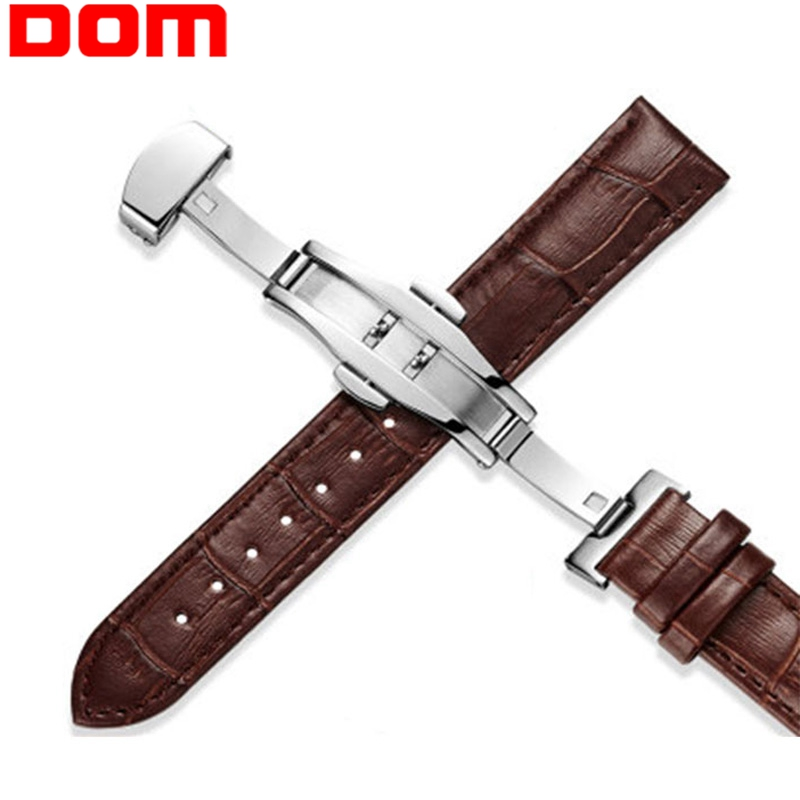 DOM Watchband Genuine Leather Straps 18mm 20mm 22mm Men Women Watch Accessories Black Brown Butterfly Buckle Watch Bands Hot