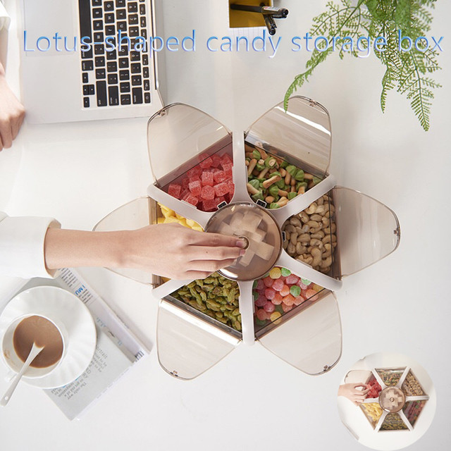1pc Candy And Dried Fruit Plate Creative Rotating Design Dessert Plate Specialty Plates Kitchen Storage Box Classified Storage