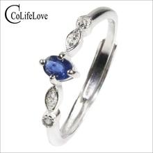 CoLife Schmuck Echt Sapphire Engagement Ring für Frau 0,2 ct Natürliche Licht Blue Sapphire Ring 925 Silber Saphir Schmuck