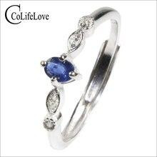 Colife jóias real safira anel de noivado para a mulher 0.2ct luz natural azul safira anel 925 prata safira jóias