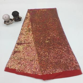 NaXiu Arfican Sequin Lace Fabric Dresses, Newest Embroidery Lace Wedding Fabric, Latest Bridal Red Lace Material