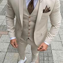 2020 Top Selling New Groomsmen Notch Lapel Groom men suit Tuxedos Mens Suits Wedding Formal Business Dress (Jacket+Pants+Vest)