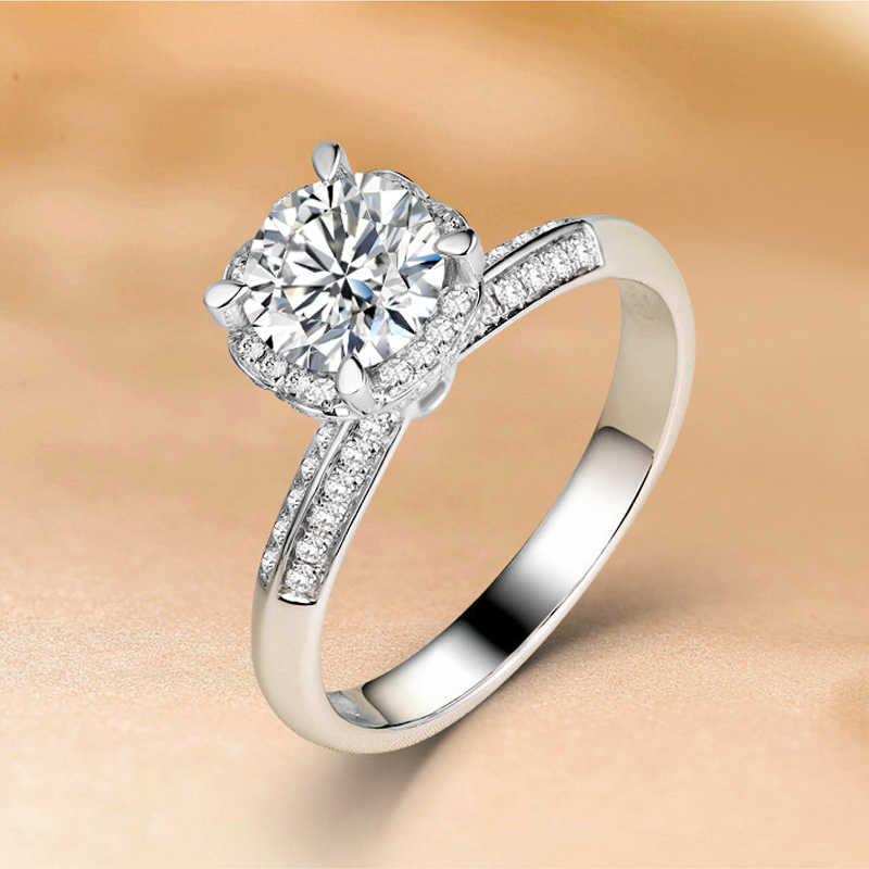 1 กะรัต 18K สีขาวทอง 1 CT Moissanite แหวนเพชรรอบดอกไม้หัวใจ Wedding PARTY หมั้นแหวน VVS