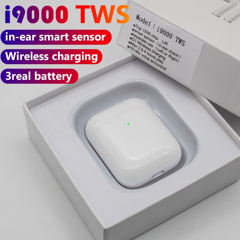 I9000 Tws 1:1 Wireless Bluetooth In Ear Smart Sensor Earphones Super Bass Headphone PK H1 W1chip I120 I100 I500 I2000 TWS