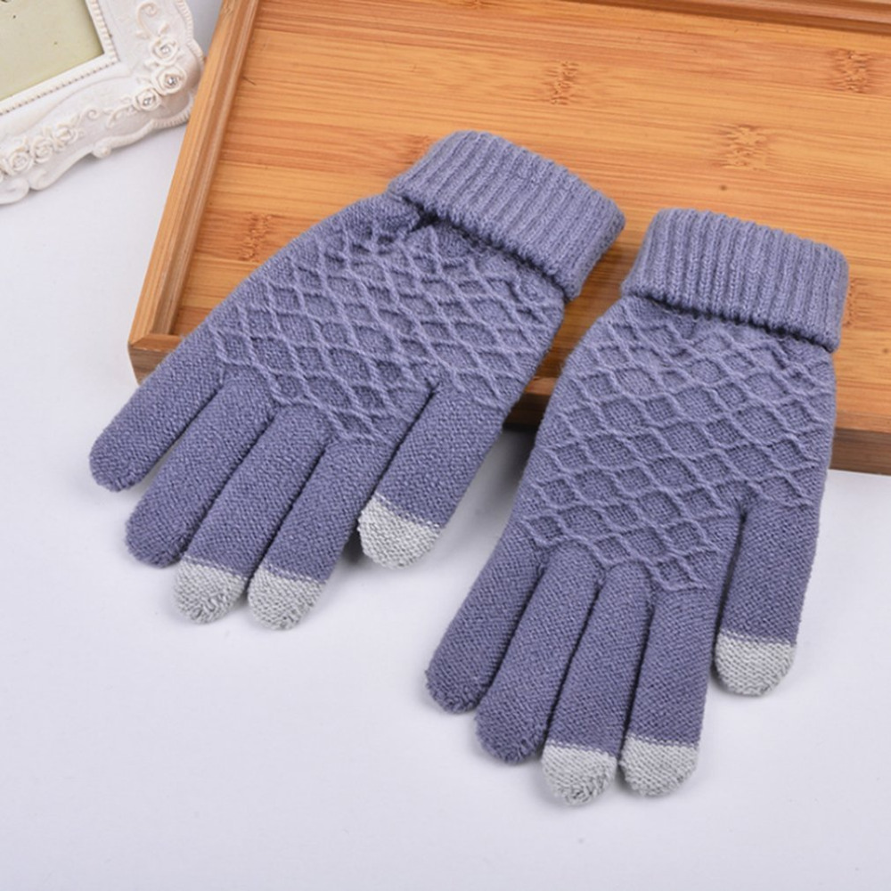 Autumn & Winter Women Warmth Gloves Wrist Length Lovely Jacquard Magic Girls Knitting Warm Touch Screen Gloves