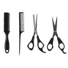4 pçs salão de beleza profissional barbeiro conjunto de cabeleireiro tesoura de corte cabelo pente desbaste tesouras dentes planos barbeiro ferramentas estilo