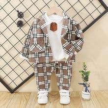 Kids Clothes Boy Plaid Suit Clothing Sets 2020 Fashion 3PCS
