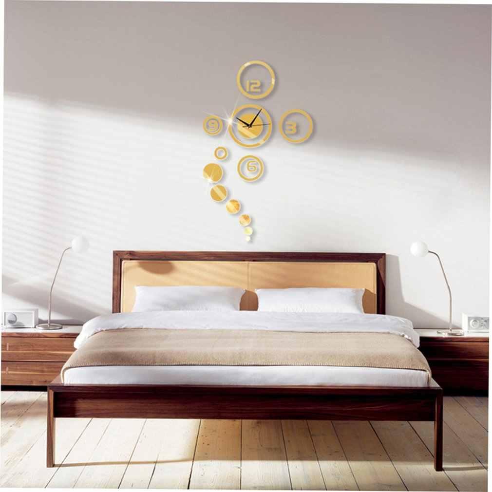 Okrągłe koło naklejki DIY zegar ścienny z kwarcowymi wskazówkami dla domu salon nowoczesny minimalistyczny zegar ścienny moda 3D lustro zegar