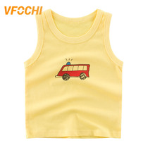 VFOCHI Boys Vest T Shirt Color Yellow Cartoon Print Kids Sleeveless Tee Shirt 2-10Y Teenager Boy Tops Cute Boy Clothes Boy Vest цена и фото