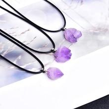 Moda basit ametist kolye doğal kuvars taş ham kristaller erkekler kadınlar takı için mor Reiki Mineral örneği hediye