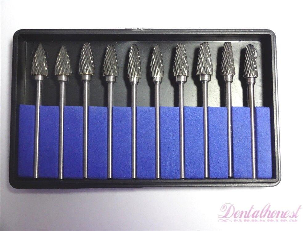 10pcs/1set Tungsten Steel Dental Carbide Burs Dental Med Lab Bur Drill 2.35