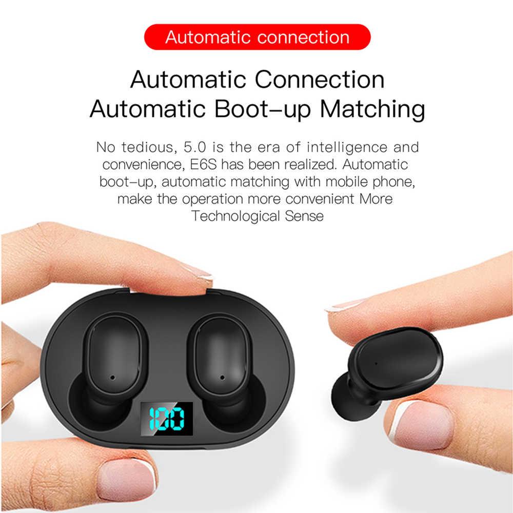 A6S Bluetooth słuchawki do xiaomi Redmi Airdots bezprzewodowe słuchawki douszne 5.0 TWS słuchawki stereo z redukcją szumów Mic dla iPhone Huawei
