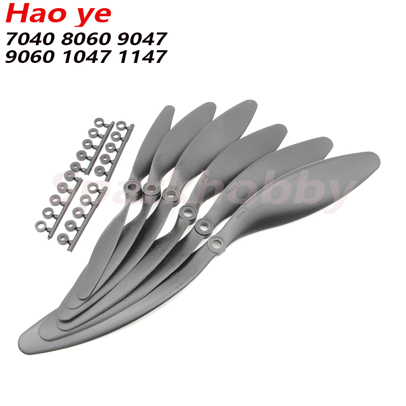 10pcs/lot  Hao Ye 6mm Hole Propeller SF-7040/8060/9047/9060/1047/1147  With Paddle Ring Slow Speed Paddle For RC Airplane
