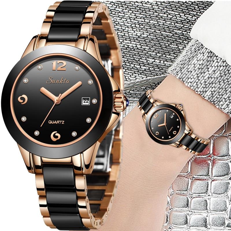 Relógios de Aço Topo da Marca Reloj de Dama Sunkta Quartzo Relógios Femininos Cerâmica Inoxidável Mulheres Luxo Senhoras Boutique Pulseira Relógio