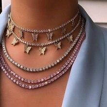 Цепочка розовая pinky с фианитом женская, роскошное ожерелье чокер с подвеской бабочкой, модное Ювелирное Украшение в стиле рок/хип хоп, теннисная цепь