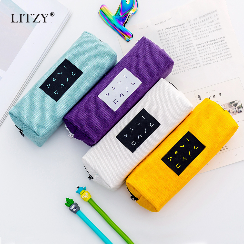 Solid Color Pencil Case Zipper Cute Pencil Bags Pencilcase Office School Supplies Stationery Pen Box For Boys Girls Student Gift