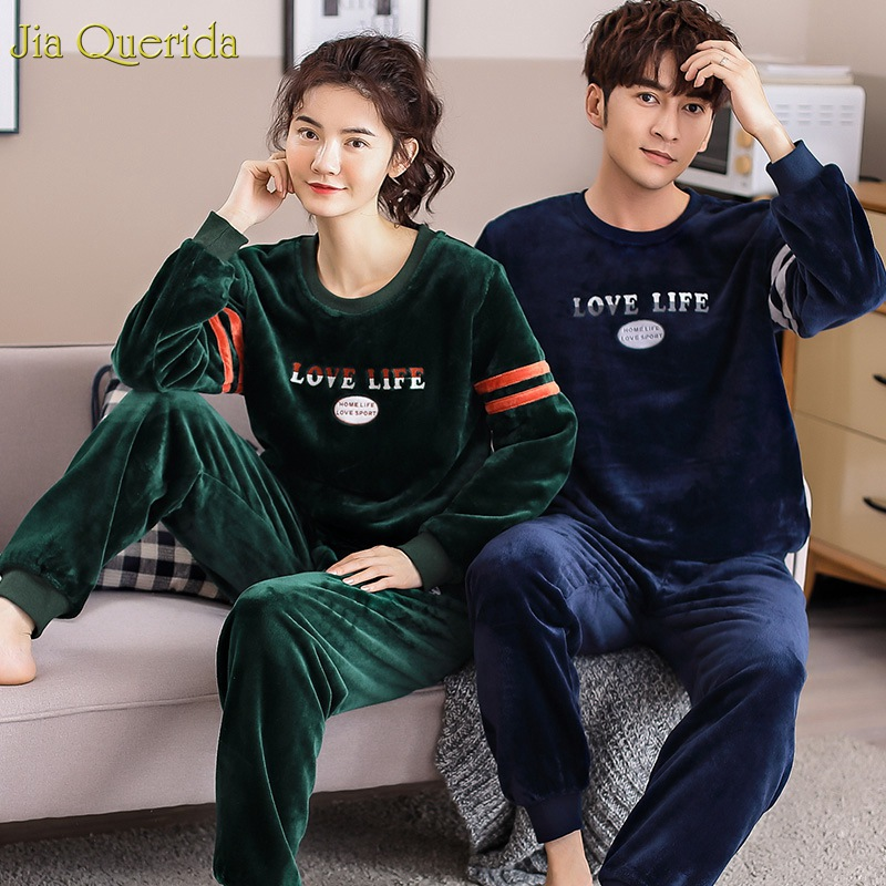 Mens Pajamas Flannel Winter Thick Pajamas Sleeping Suits Couple Matching Sporty Style Long Sleeve Warm Leisure Suits Couple New