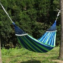 Outdoor Hammock Hang Bed Canvas Travel Garden Camping Swing Stripe Double-Single-People