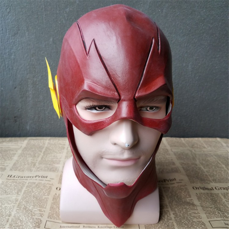 The Flash Latex Mask Justice League Super Heroes Action Figure Model Collection Halloween Full Head Barry Allen Masks The Flash