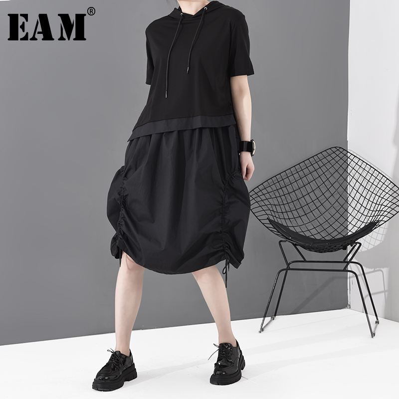 [EAM] Women Black Drawstring Asymmetrical Midi Dress New Hooded Short Sleeve Loose Fit Fashion Tide Spring Summer 2020 1S779
