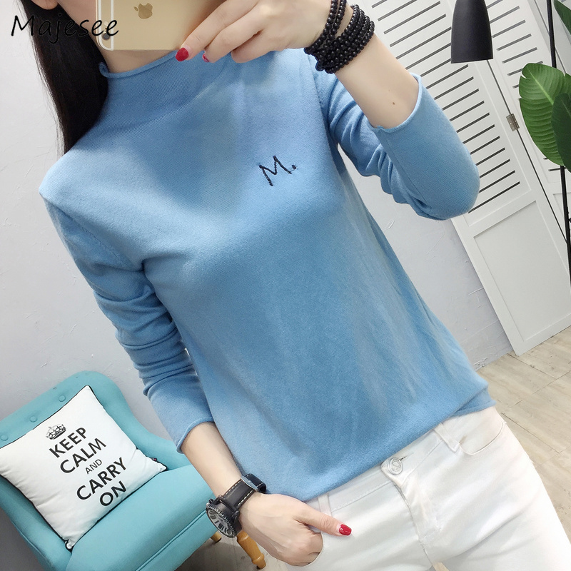 Pullovers Women Autumn Winter Sweet Knitting Sweater Womens Pullover Letter Embroidery Chic Kawaii Pink All-match Slim Harajuku