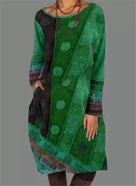 2021 Autumn Winter Women Loose Dots Pocket Vintage Printed Dress Full Long Sleeve Cotton Party Dresses Plus Sizes 4