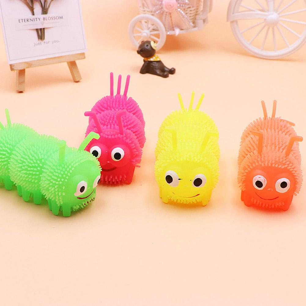 Cartoon Caterpillar LED Flashing Puffer Ball Squeeze Decompression Kids Toy Helps Relieved Stress Develop Child's Motor Skills
