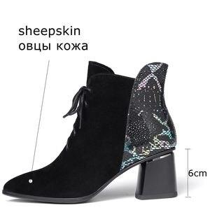Image 5 - ALLBITEFO ファッションブランドハイヒールの女性のブーツ本革の厚さのヒール女性のための革冬の雪の靴