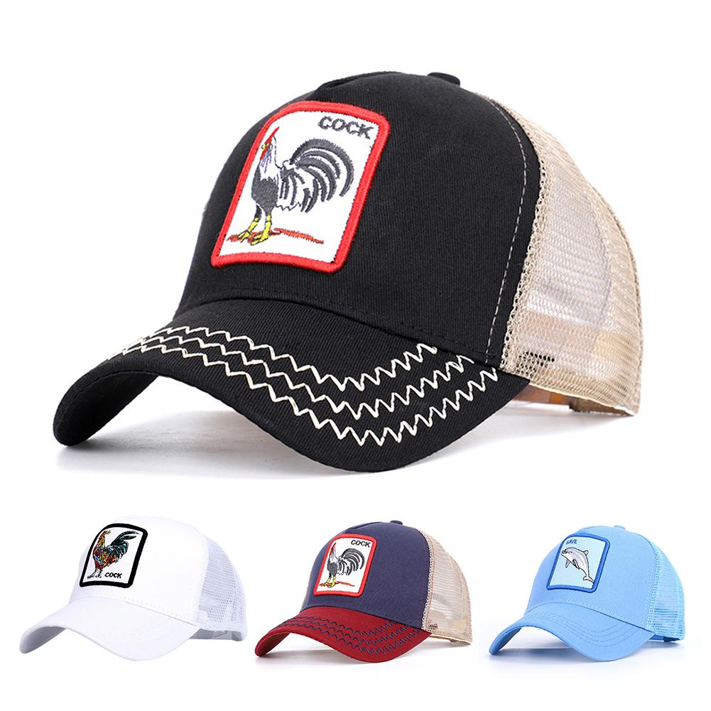 Summer Vintage Baseball Net Cap Rooster Animal Embroidered Pattern Casual Cap