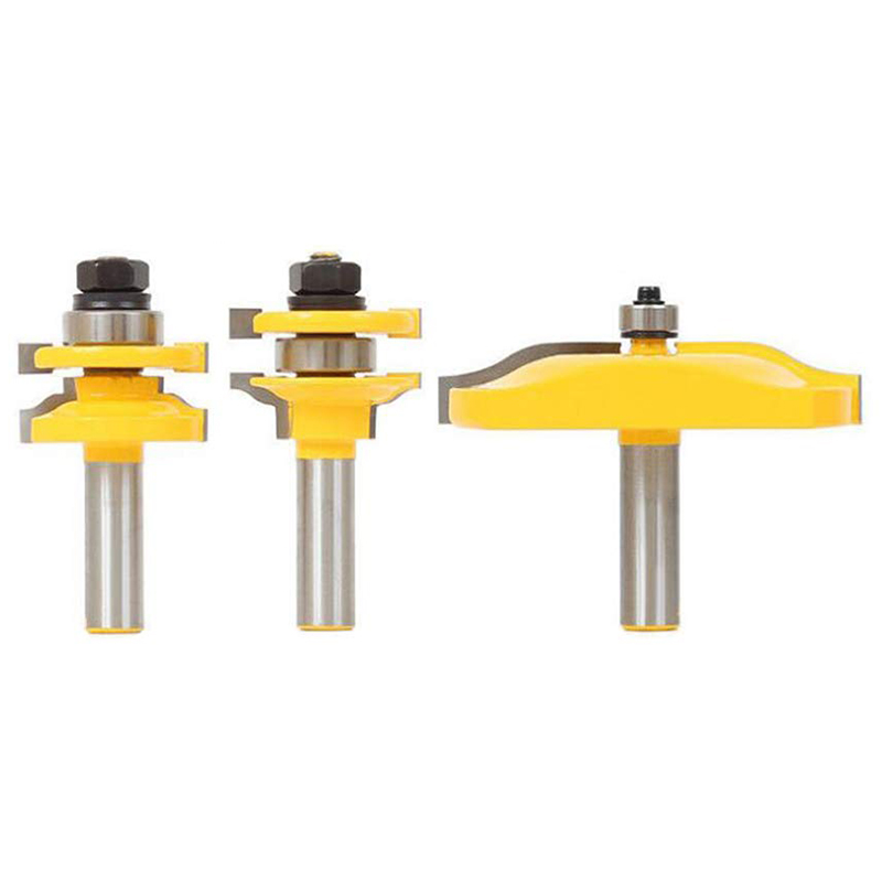 3 PCS Router Bit Set, 1/2-Inch Shaker Raised Panel Round Over Cabinet Door Router Bit Set With Back-Cutter Panel Raiser 1/2-Inch