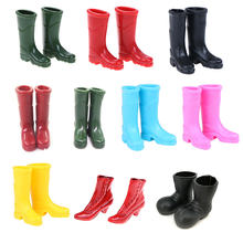 New 1Pair Rubber Rain Boots High Heels Sandals Home Garden Yard Decoration 1/12 Scale Dollhouse Miniature(China)