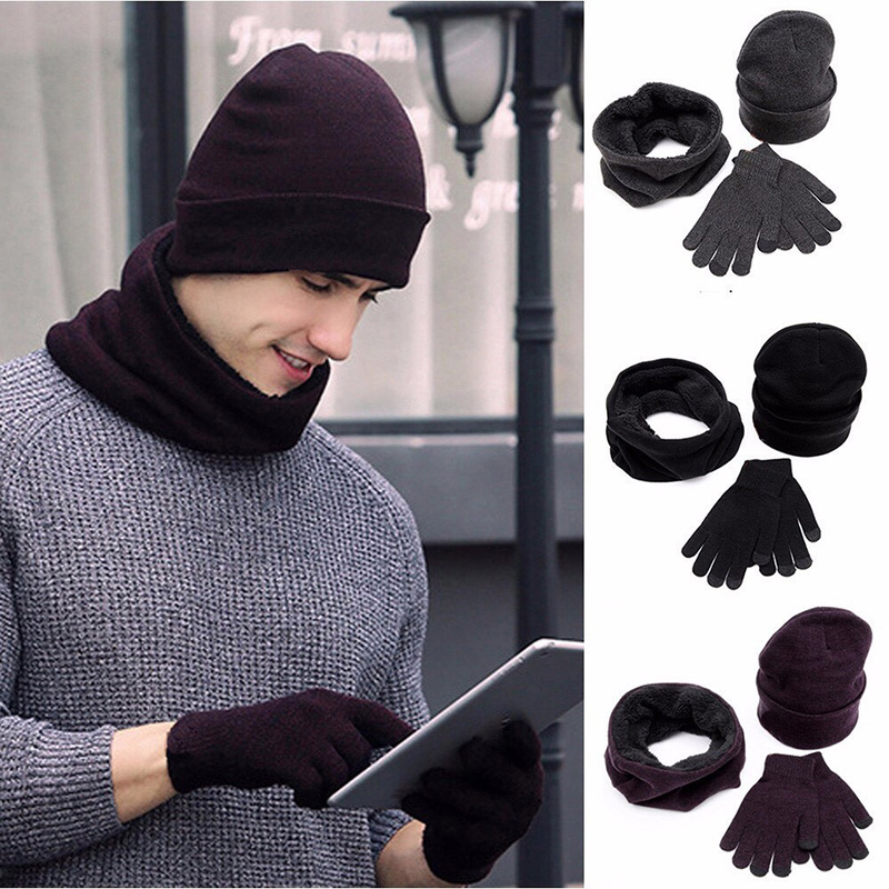 Winter Men Hats Scarves Gloves Set Fashion Knitted Plus Velvet Hat Scarf Set Kit Male 3 Pieces/Set Beanies Scarf Glove