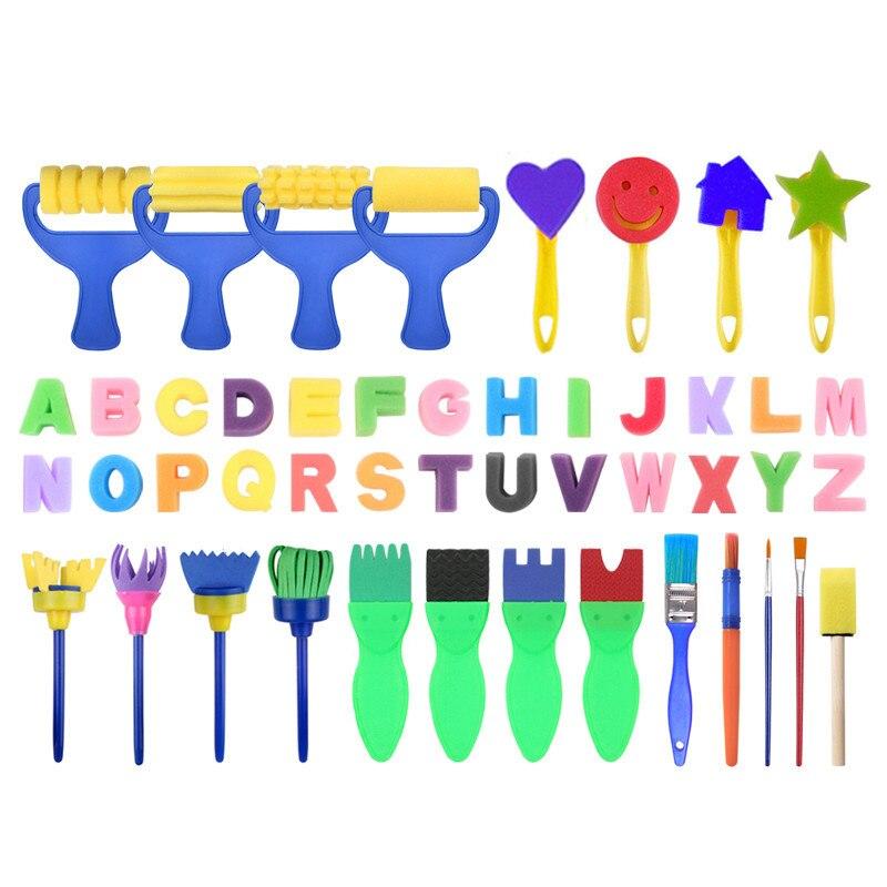 Children's Art Painting Set Kids Art & Craft 47 Pieces Sponge Painting Brushes Kids Painting Kits Early DIY #3S27