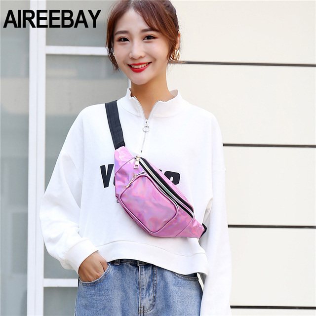 AIREEBAY New Holographic Waist Bag For Women Laser Silver Fanny Pack Female Belt Hip Bag Pink Bum Bag Hologram Waist Pack Luggage & Bags