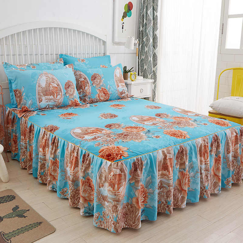 Romantic Single-Layer Bed skirt Bedcover Floral Fitted Sheet Cover Bedspread Bedroom Home Textile Skirt